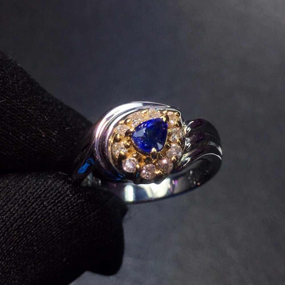 Fine Jewelry Pt900 Real Platinum Ouro 100% Natural Azul Safira Pedras Preciosas Safira 0.45ct Diamantes Anéis de Casamento Do Sexo Feminino