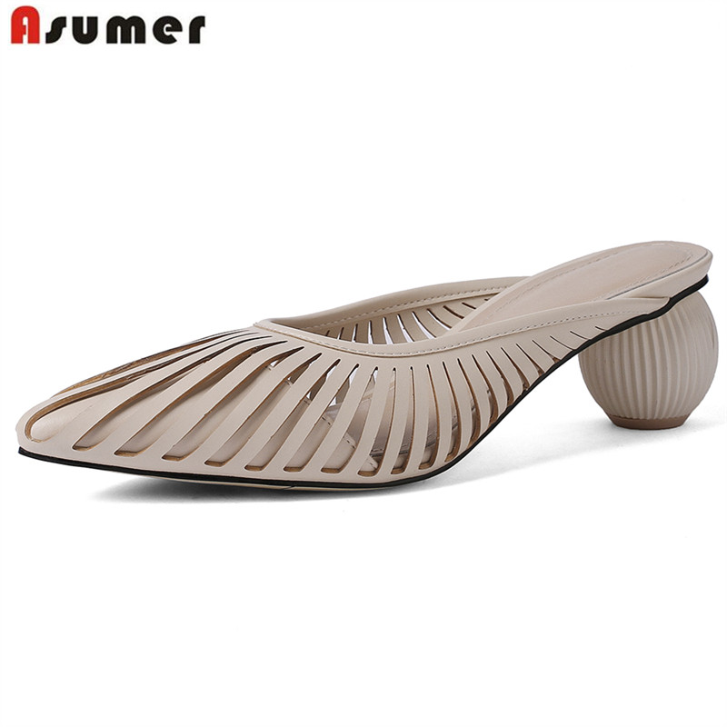 ASUMER Plus size 34-43 Genuine leather Women sandals fashion solid color cut outs pointed toe slingback ladies mules summer shoeASUMER Plus size 34-43 Genuine leather Women sandals fashion solid color cut outs pointed toe slingback ladies mules summer shoe