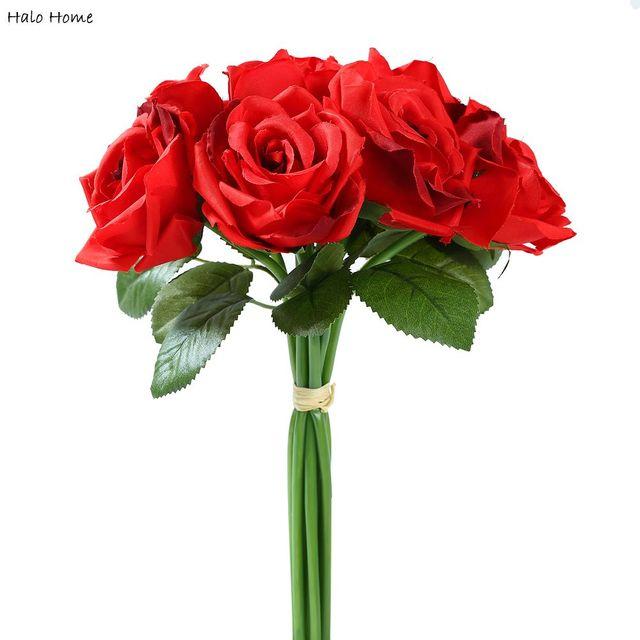 1 Bunch Silk Simulasi Buatan Bunga Mawar Merah Untuk Tempat Umum Taman Perayaan Pesta Pernikahan Dekorasi