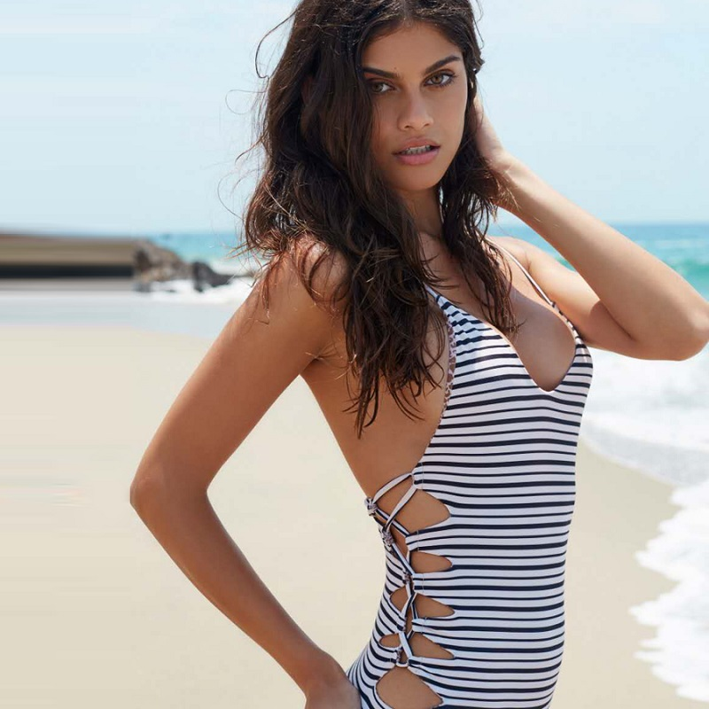 2017 Women One Piece Swimsuit Summer Stripe Monikini SEXY Bandage Girls HOT Beach Swimwear Female Dress Swimming Body Suit