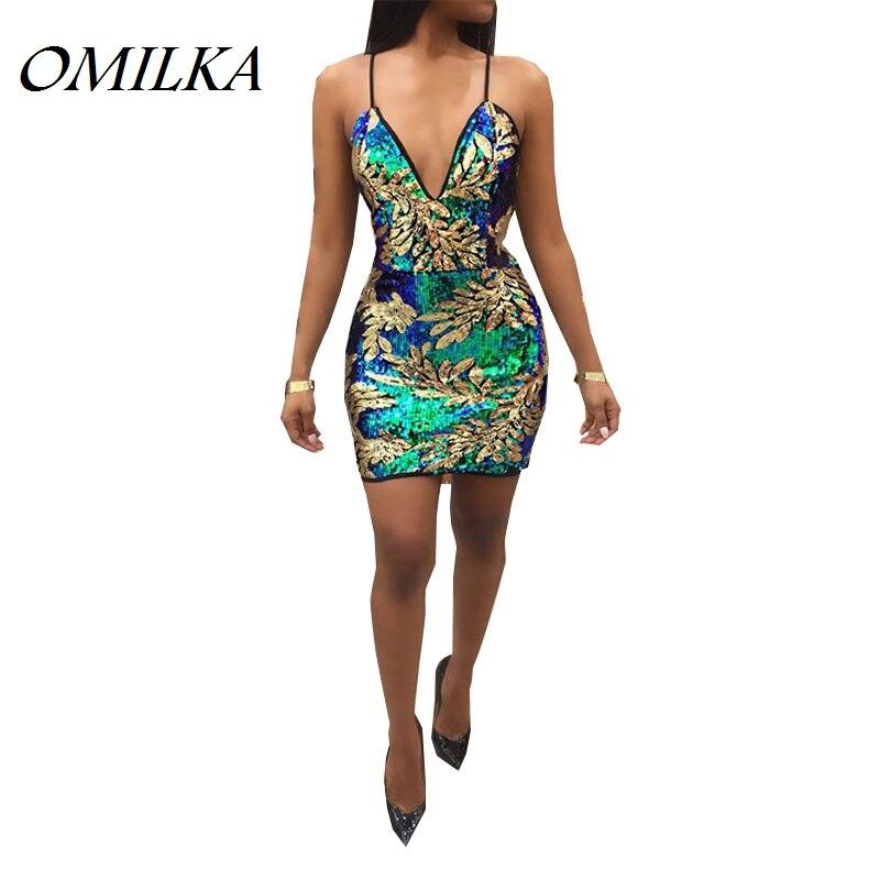 OMILKA 2018 Autumn Women Sleeveless V Neck Backless Sequined Bodycon Dress  Sexy Glitter Strap Night Club ffaa17927444