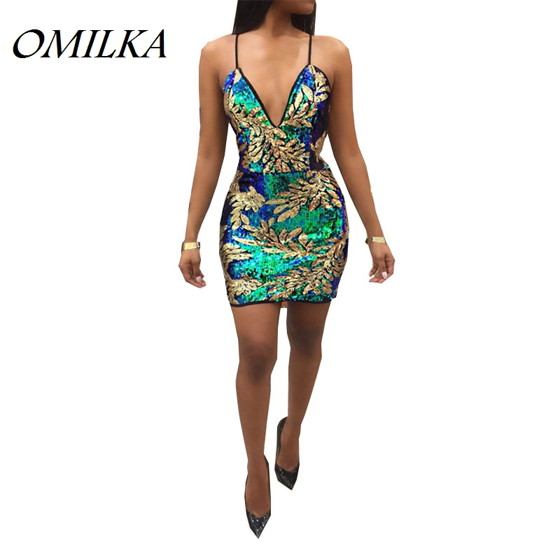OMILKA <font><b>2018</b></font> Autumn Women <font><b>Sleeveless</b></font> V Neck Backless Sequined <font><b>Bodycon</b></font> <font><b>Dress</b></font> <font><b>Sexy</b></font> Glitter Strap <font><b>Night</b></font> <font><b>Club</b></font> Sequin Mini <font><b>Dress</b></font> image
