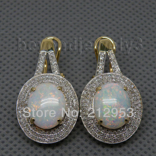 Earrings Opal Gold Vintage Women Yellow Oval 14K for ER008 9x11mm Solid-14kt New