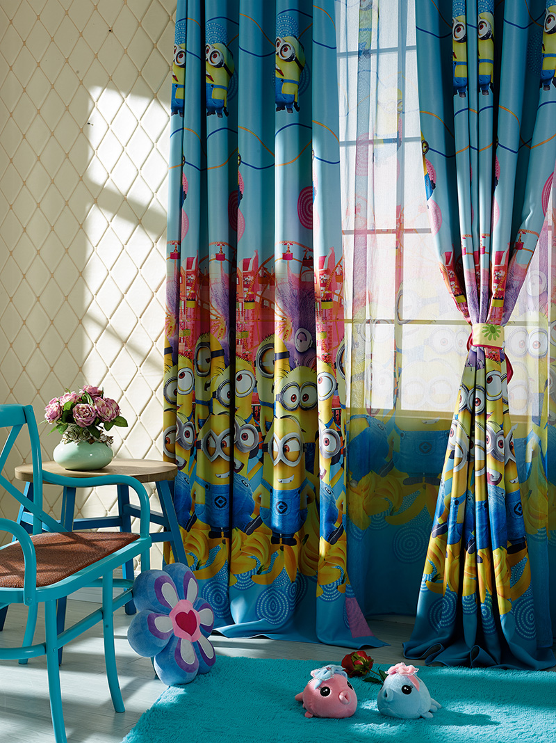 Blackout curtain kids despicable me windows Curtains kids cartoon Minions curtain for boy girl bedroom customized 90x260cm AA7