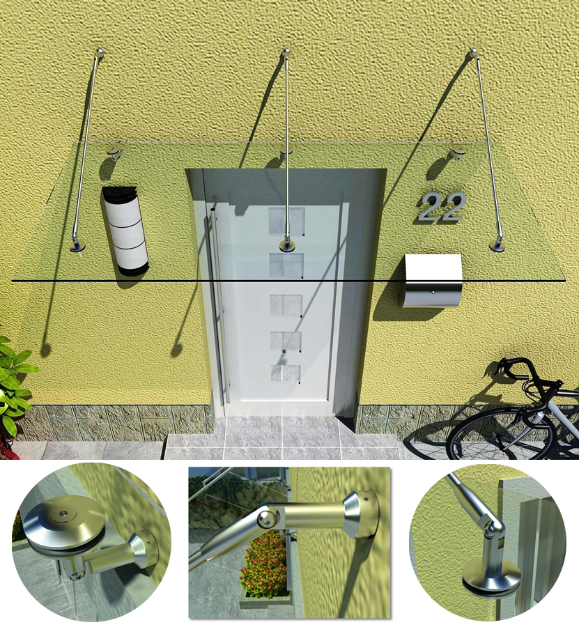 KIN MADE Stainless steel Glass Canopy Kits/Awning for windows & doors Glass roof