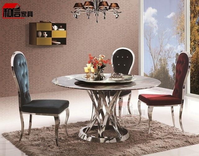 Mármol Natural mesa de comedor moderna de acero inoxidable comedor ...