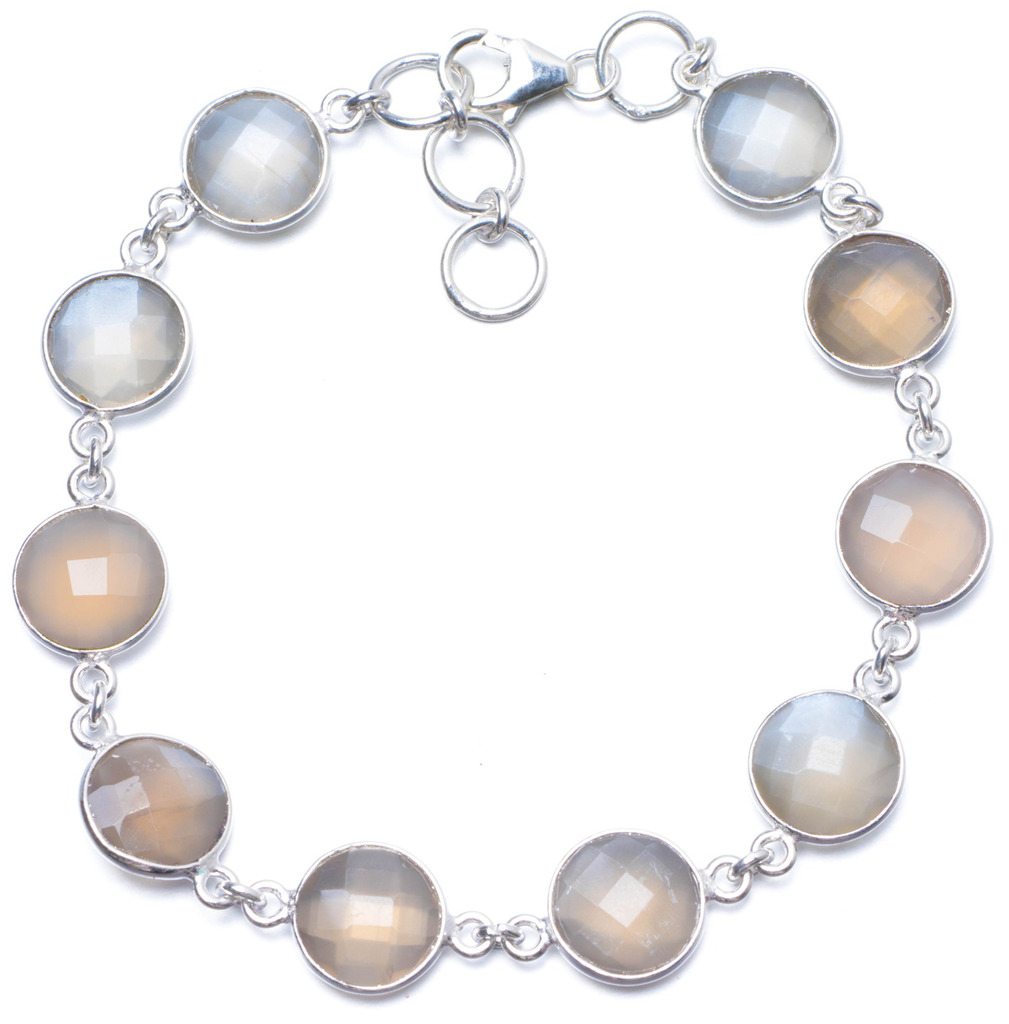 Natural Chalcedony Handmade Unique 925 Sterling Silver Bracelet 8-8 1/2 Y0016 цена