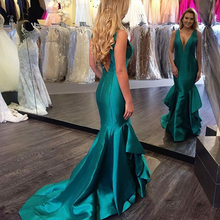 Bbonlinedress Sexy Deep V-Neck Backless Prom Dress Mermaid Long Turquoise Evening Gowns 2019