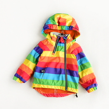 Kisbini少年少女ジャケット秋冬コートフード付き虹ストライプウインドブレーカーのコート 2 5 年歳
