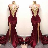 Linyixun Burgundy Sexy Gold Lace Applique Long Evening Dresses Split Side Mermaid Prom Dresses 2018 High