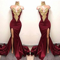 Linyixun Burgundy Sexy Gold Lace Applique Long Evening Dresses Split Side Mermaid Prom Dresses 2018 High Neck Robe de Soiree