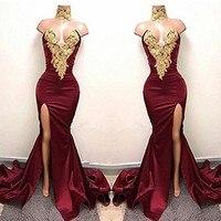 Linyixun Burgundy Sexy Gold Lace Applique Long Evening Dresses Split Side Mermaid Prom Dresses 2018 High Neck Robe de Soiree