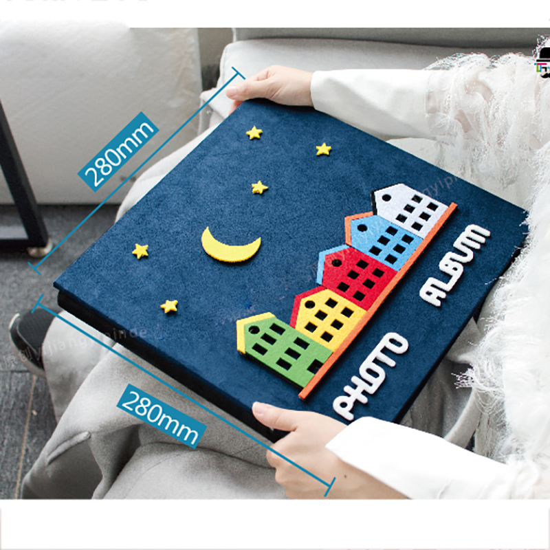 2019 New Fashion Self Adhesive Manual Cartoon Baby Growth Album 14 Inch Hard Cover Album Family