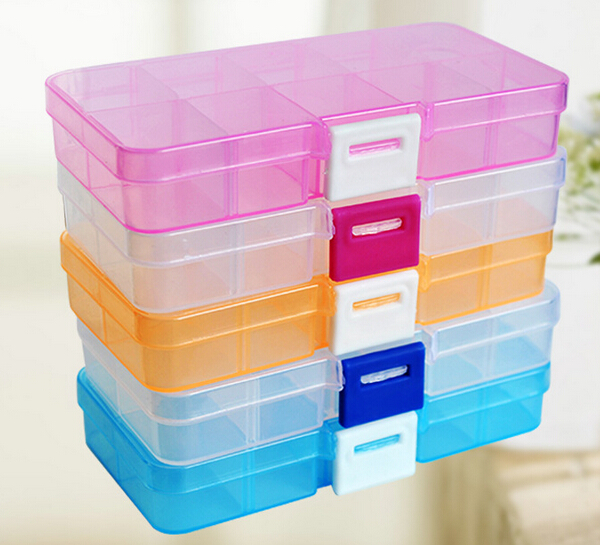 The cheapest! 10 grid can split transparent PP plastic storage box jewelry small components hardware tools