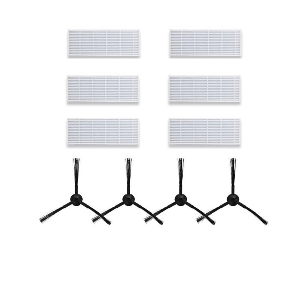 4x Side Brush +6x Hepa Filter for Ilife A4S/A4/T4/X430/X432/x431 Ilife A6/x620/x623 Robot Vacuum Cleaner Parts Filters Brushes