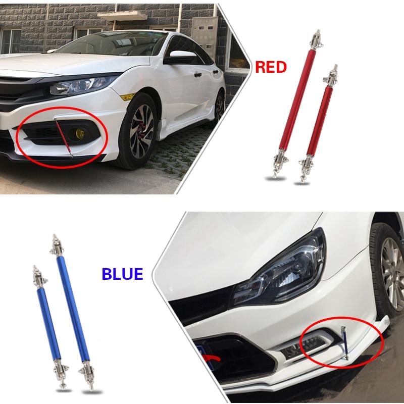 2 Pack Adjustable Front Bumper Lip Splitter Strut Tie Bar Rod 150mm Red