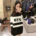 Корейский стиль Толстовки 2017 НОВЫЙ kpop bts Bangtan Мальчики womem осень Смешанные цвета черный и белый Длинный участок Толстовки k-pop bts