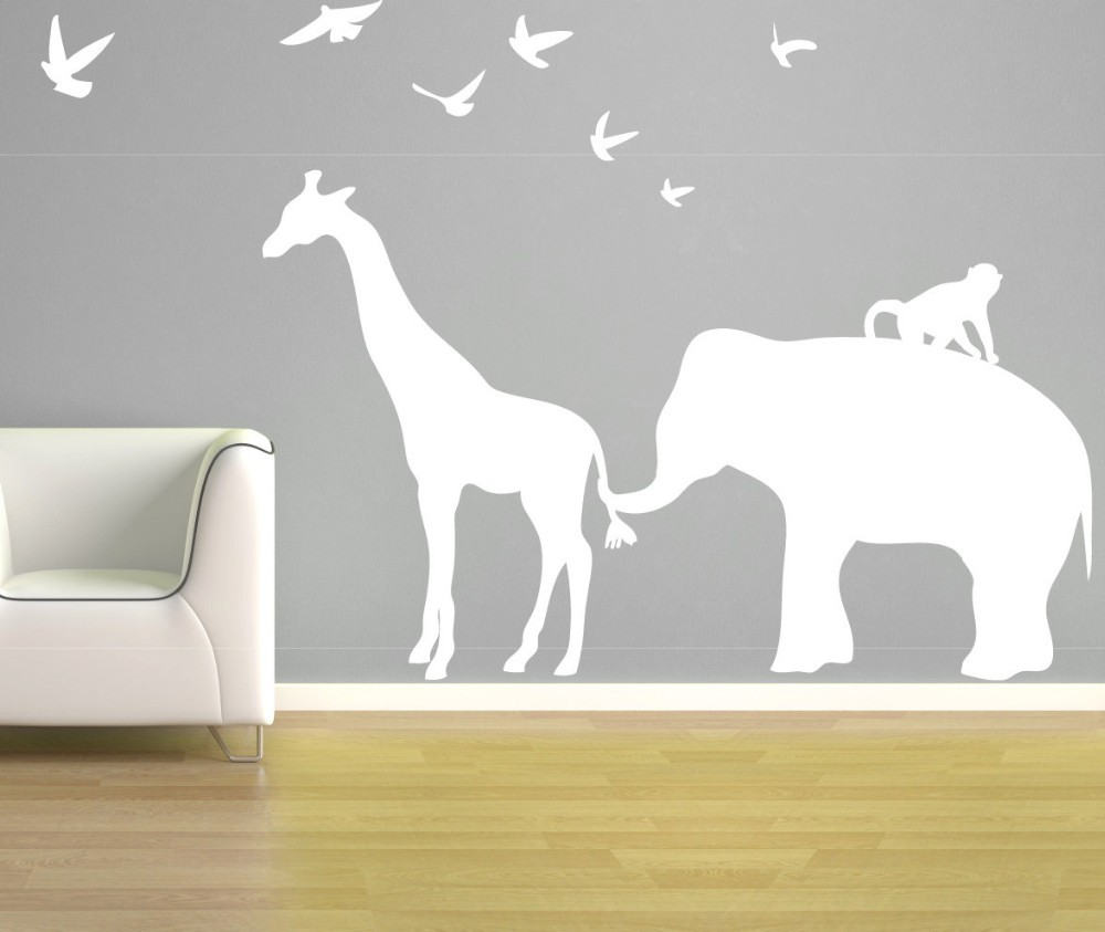 elephant giraffe wall decal zoo line safari jungle silhouette vinyl