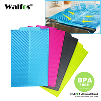 WALFOS Food Grade Silicone Dish Bowl Drying Mat Extra Large Heat Resistant Silicone Antibacterial Dishwaser Safe