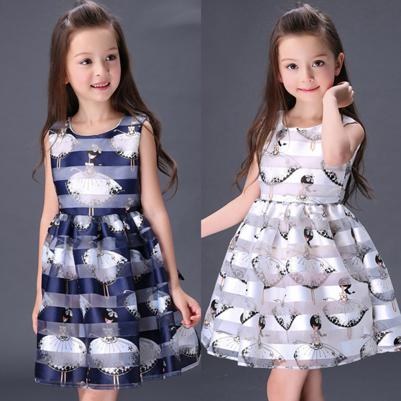 Baby girls dress blue and white infant summer cute Angel printing for birthday party sleeveless princess floral dress  XV2 2 10yrs girls dress kids princess dress long sleeve baby girl cute palace style blue and white floral embroidery spring 2017 new