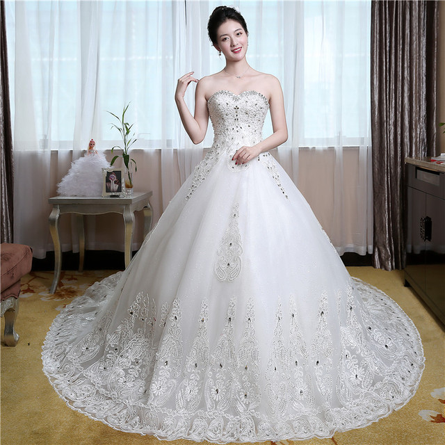 Luxury Sweatheart Lavender Wedding Gowns Embroidery With Crystal ...