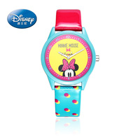 100 Disney Brand Fashion Girls Watch Cartoon Anime Watches Child Girls Waterproof Wristwatches Mickey Mouse Leather