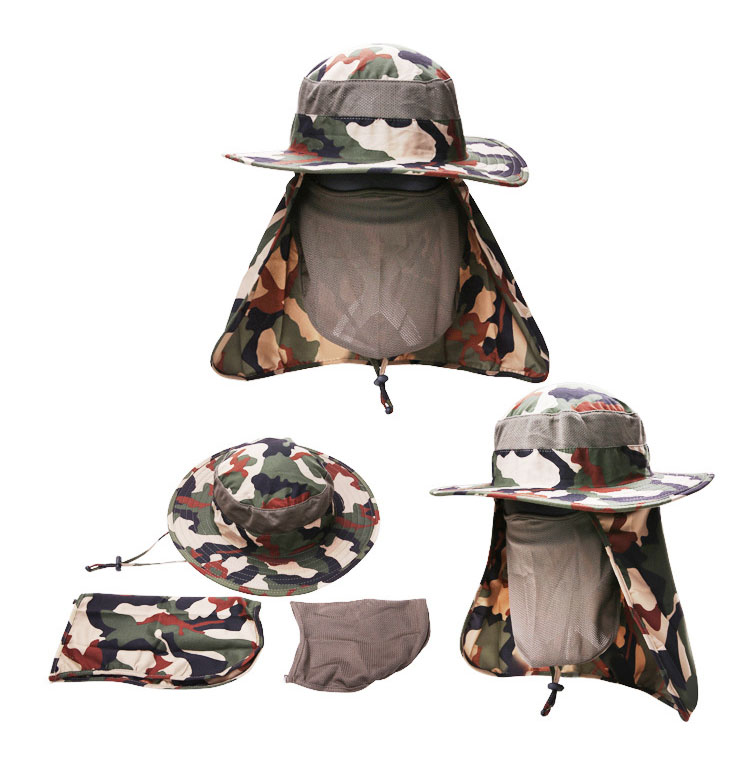 [AETRENDS] 17 New Detachable Camouflage Bucket Hat Neck Protection Summer Cap Windproof Anti-mosquito Fishing Hats Z-5160 6