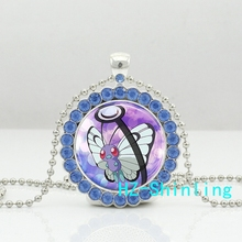 New Trendy Butterfree Crystal Necklace Pokeball Pendant Animal Picture Jewelry Silver Ball Chain Glass Necklaces Gifts