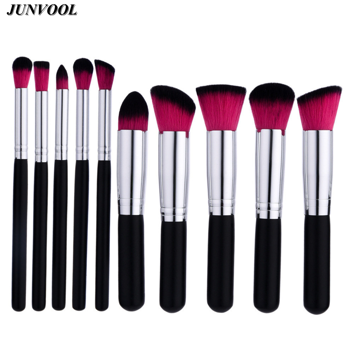 Professional 10 Pcs Makeup Brush Black Pink Hair Pincel Maquiagem Cosmetic Make Up Brushes Set with Black Silver Wood Handle