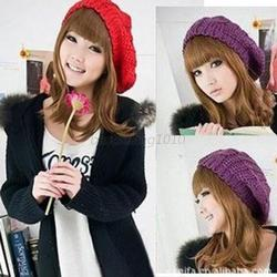 Ladies Women Knit Crochet Hat Winter Warm Baggy Beret Cap Multi-color