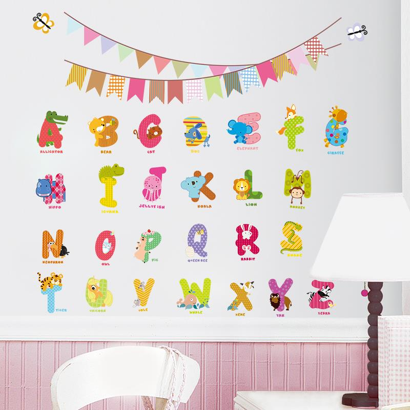 Jungle wild Animal design characters letters wall sticker Nursery kids room Flag Birthday decoration wall Decals  sc 1 st  AliExpress.com & Jungle wild Animal design characters letters wall sticker Nursery ...