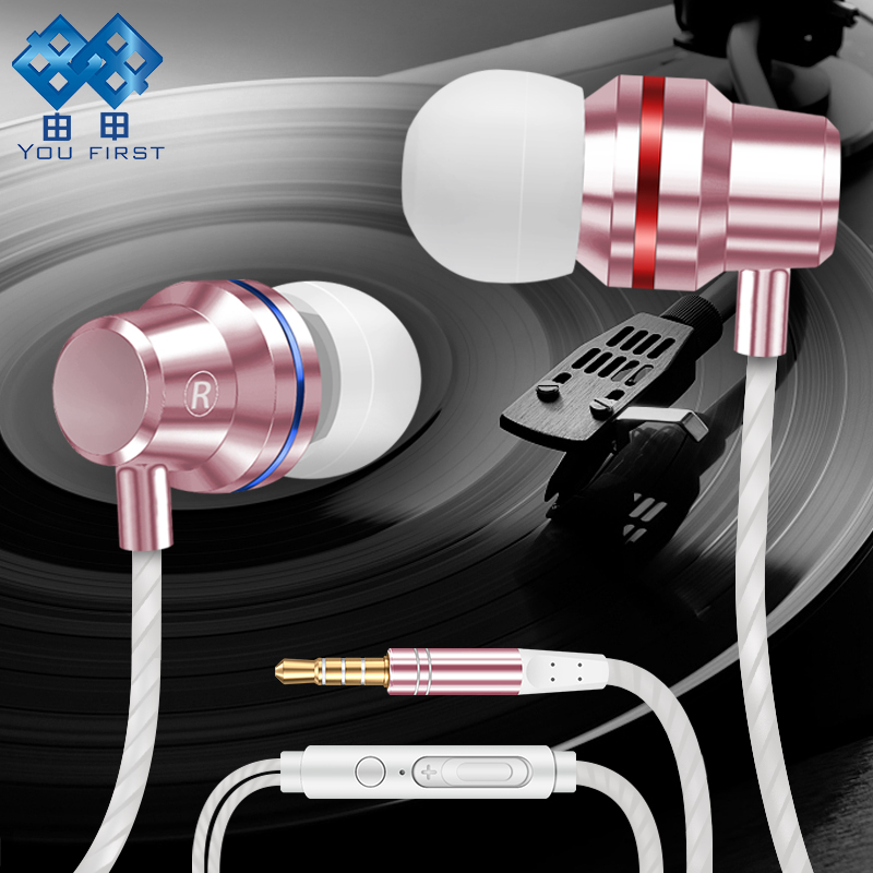 YOU FIRST Wired Earphone Headphone With Microphone Sport Strero Metal Noise Canceling 3.5mm Earphone Headphones For Mobile Phone
