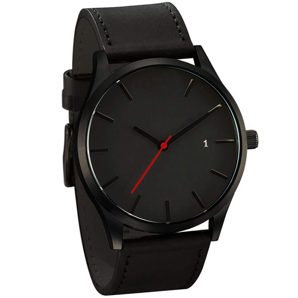 купить Luxury Men Wrist Watch Leather Band Alloy Dial Auto Date Display Business Male Gift Classic Quartz Wrist Watches #30 недорого