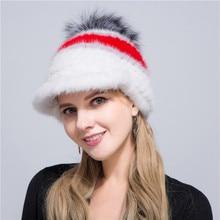 2018 Russia Women s Casual Fox Big Pompom Knit Water Mink Weaving Cap  Winter Warm Fur 6775f3bf532