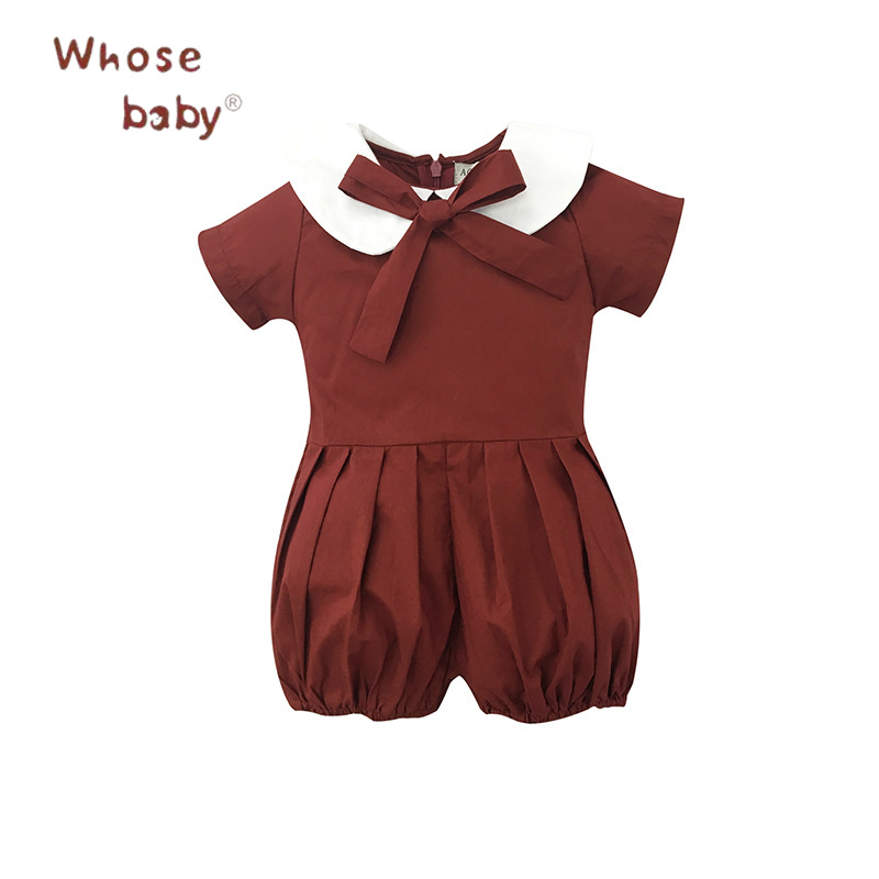 Baby Rompers Lantern Sleeve Baby Clothes Bow Peter Pan