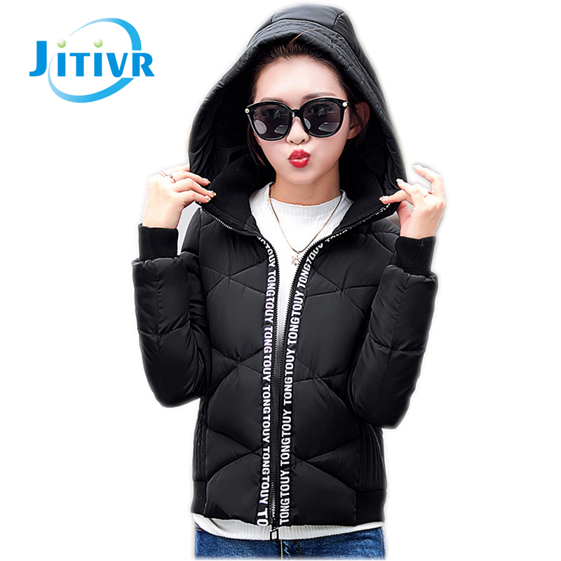 ФОТО Jitivr Hotest 2016 Women's Fashion Slim Warm Cotton-padded Down Hooded Jacket Girl Student Style Sweet Female Winter Thin Coat