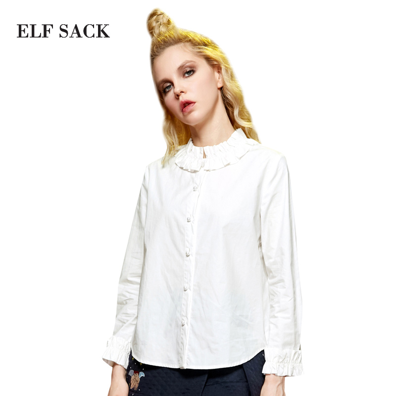 Elf SACK B All Match Gentlewomen Ruffle Pearl Button 100 Cotton White Shirt Female Long Sleeve