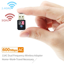 Mini 600Mbps USB WiFi Dongle Adapter, Dual Band USB Wireless Network lan Card for PC Desktop Laptop Tablet 802.11a/g/n/ac
