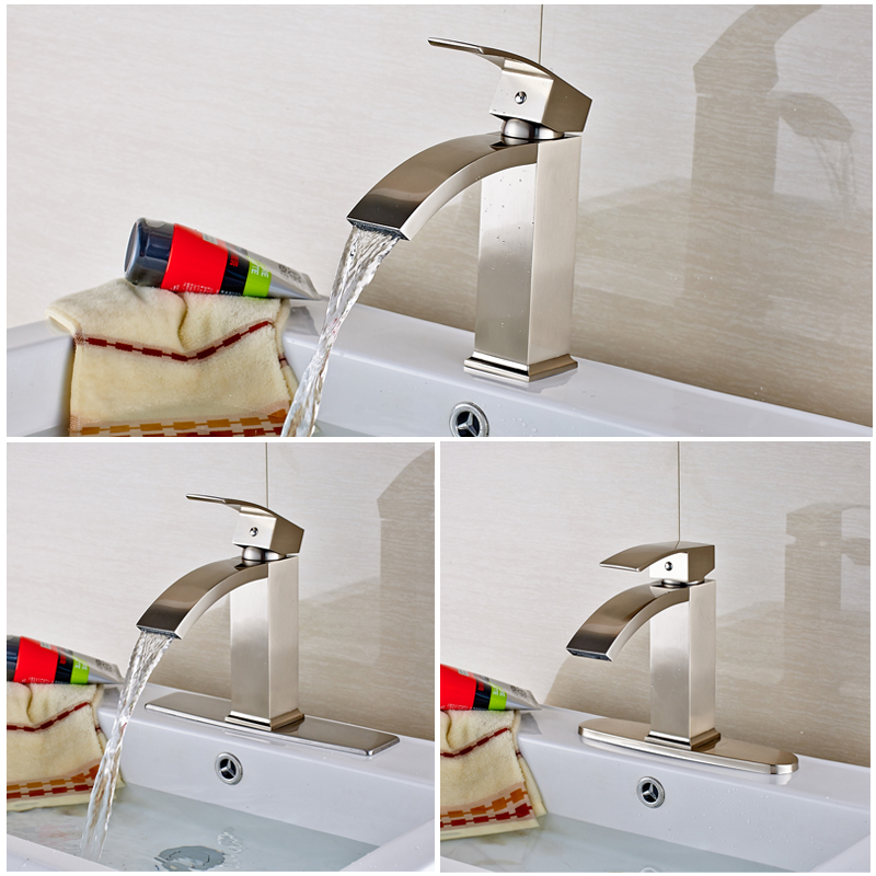 Nickel Brushed Bathroom Sink Faucet Deck Mounted Single Handle Hot & Cold Water Mixer Tap bathroom sink faucet single handle mixer tap hot and cold water mixer tap nickel brushed