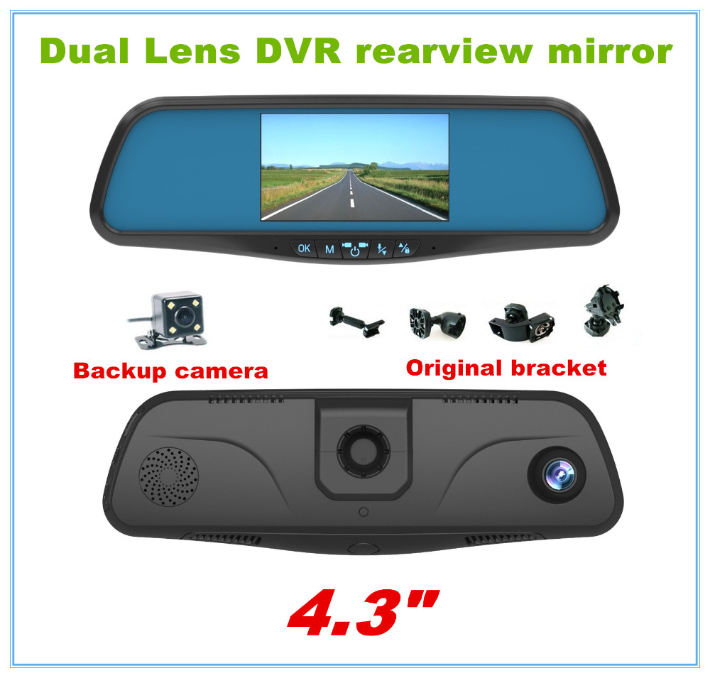 цена на Original bracket DVR Camera parking camera Dual lens 4.3 Rear view mirror car DVR FHD 1080P G-Sensor reverse
