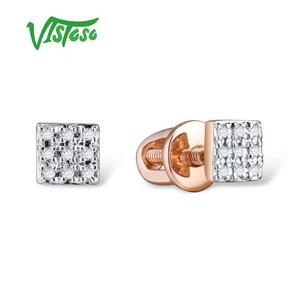 Image 4 - VISTOSO Gold Ohrringe Für Frauen 14 K 585 Rose Gold Funkelnden Diamant Dainty Runde Cirle Stud Ohrringe Mode Trendy Feine schmuck