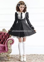 Sweet Peterpan Collar Black And White Dot Cotton Lolita Dress Lolita Channel Ball Gown 4XL For