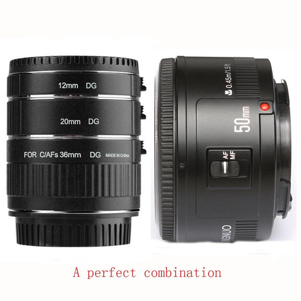 YONGNUO 50mm F1.8 Lens Large Aperture Auto Focus Lens+Viltrox Autofokus AF Macro Extension Tube Ring Set for Canon DSLR Cameras macro extension tube ring for pentax pk lens