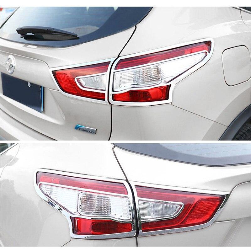 Accessoires pour Nissan Qashqai 2016 2017 style de voiture ABS Chrome extérieur feu arrière lampe moulage garniture feu arrière couvre 4 pièces