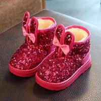 2017 Winter New Ankle Boots Kids Shoes For Girls Bling Children Snow Boots Thick Plush Soft