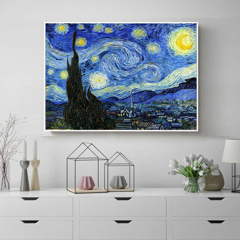 Starry Night Moonlight Van Gogh Famous Artist Impressionism Painting Art Print Poster Wall Pictures Canvas Painting Decoration