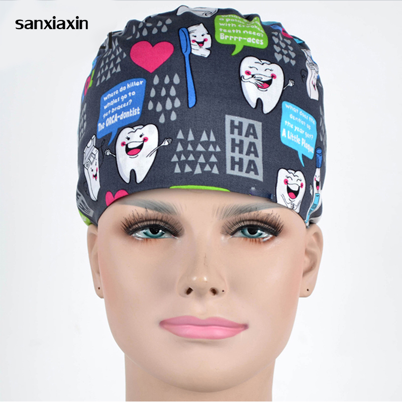 Sanxiaxin New Operating Room Hat Woman Doctor Nurse Cotton European And American Printing Long Hair Gourd Hat) Blue Surgical Cap