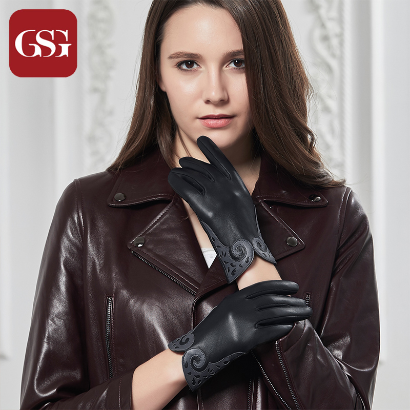 GSG Fashion 2018 Luxury Women Sheepskin Lser Cut Design Wrist Solid Genuine Leather Female Winter Driving Glove Free Shipping