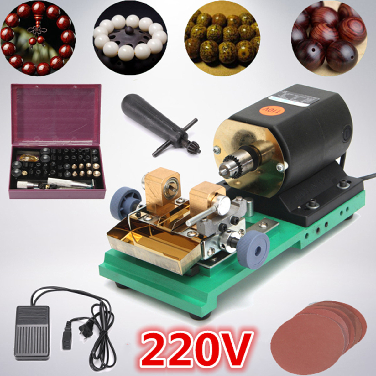 380W 220V Pearl Drilling Holing Machine Driller Full Set Jewelry Jade Driller Tools With Sanding Disc