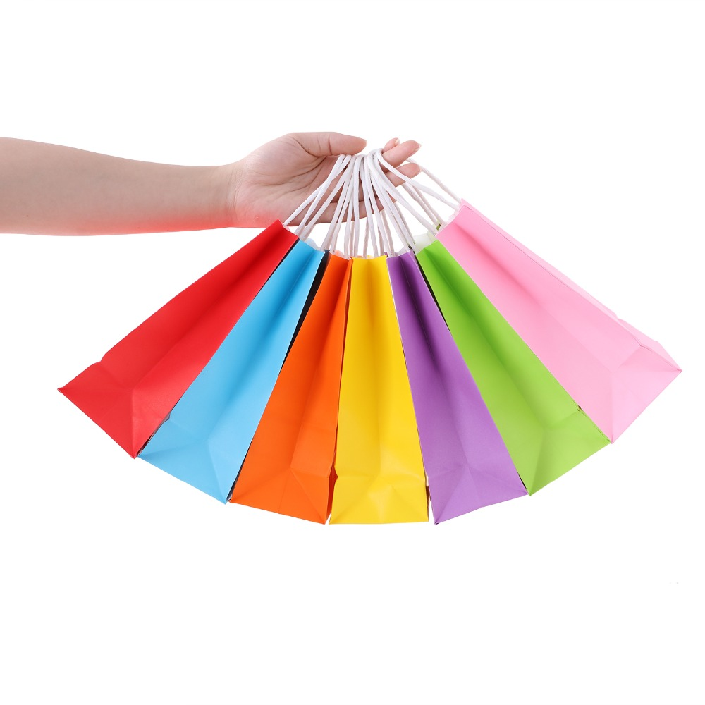 Image 4 - 35pcs Kraft Paper Bags With Handle For Birthday Party Wedding Celebrations Gifts Accessories Party Favor 7 Color Bags-in Gift Bags & Wrapping Supplies from Home & Garden